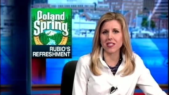 Rubio sips from Maine based Poland Spring bottle