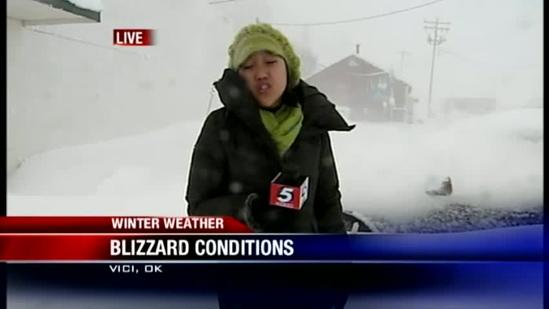 Blizzard conditions in northwest Oklahoma