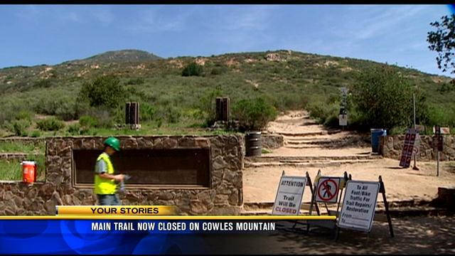 Main trail now closed on Cowles Mountain