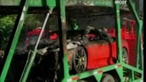 Luxury cars catch fire in Thailand
