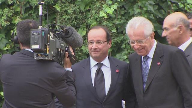Monti hosts Hollande for eurozone talks in Rome