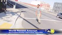 Fresno man attempts 7,600 mile skateboarding world record