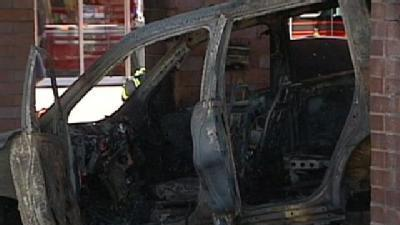 SUV Hits Gas Pump, Catches Fire