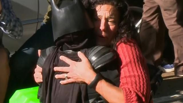 Batkid saves damsel in distress