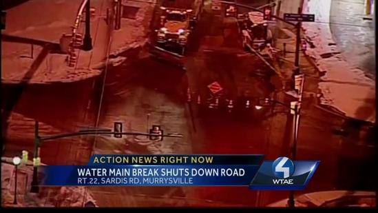Murrysville water main break closes Old William Penn Highway intersection