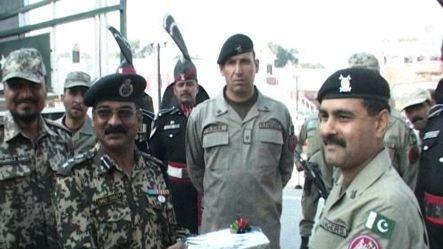 Sweets exchanged at Wagha-border to celebrate Eid