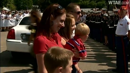 Marine, family return to newly remodeled home
