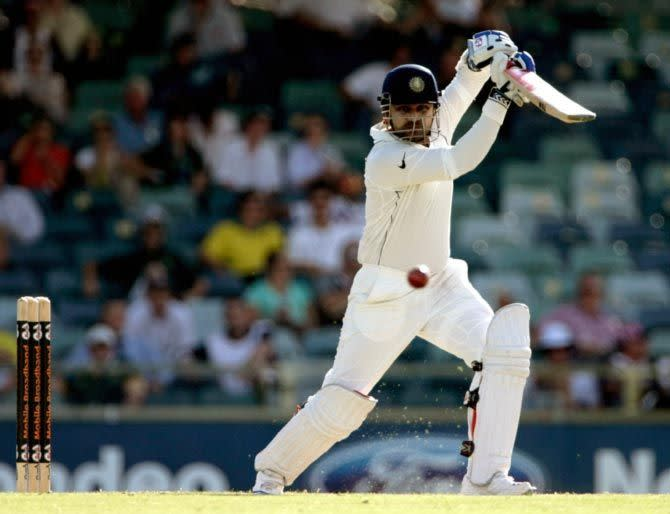 Sehwag missed out on his 3rd triple ton by a mere 7 runs