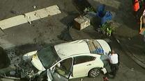 Raw: Car Jumps Curb in NYC, Injures 8