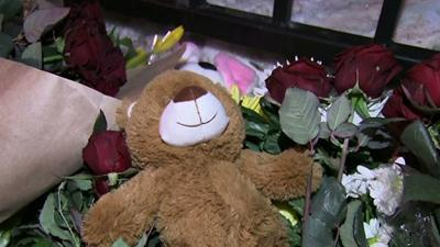Raw: Flowers Outside U.S. Embassy in Moscow