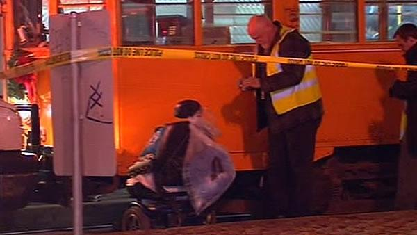 Wheelchair-bound woman struck by Muni train