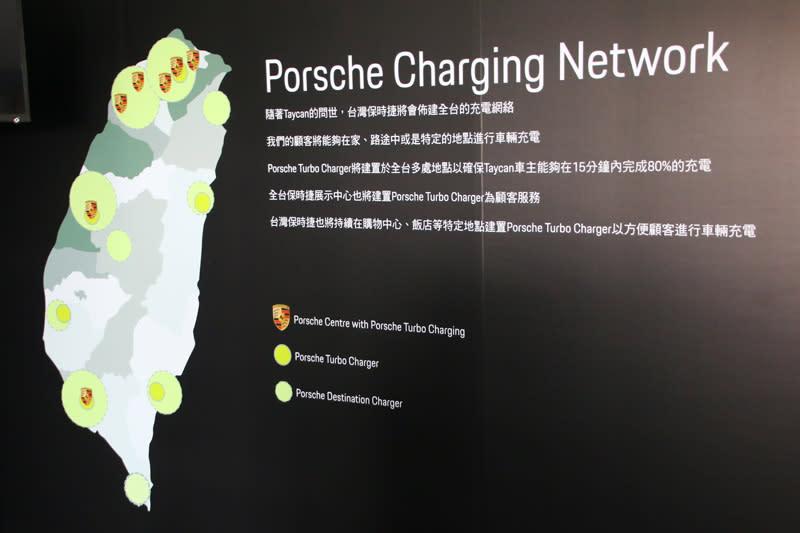 台灣保時捷為對應E-Hybrid產品線與未來Taycan的充電需求,將會在全台各地設置全新充電站,其中Porsche Turbo Charger超級充電站將可對應Porache獨家的800V電池,充至400km續航力的電量只需15分鐘。
