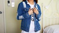 Dominique's OOTD: Ripped Denim Jacket
