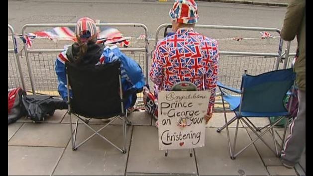 Crowds gather for Prince George's christening