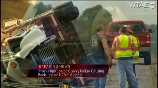Truck loses cherry picker on I-79