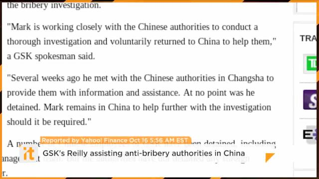 GSK's Reilly Assisting Anti-bribery Authorities In China