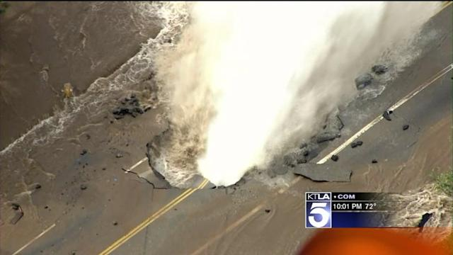 Water Main Break Sends Millions of Gallons of Water Onto Sunset Blvd. Near UCLA