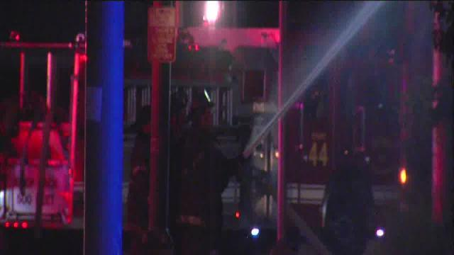 Vacant apartment building on Woodward goes up in flames