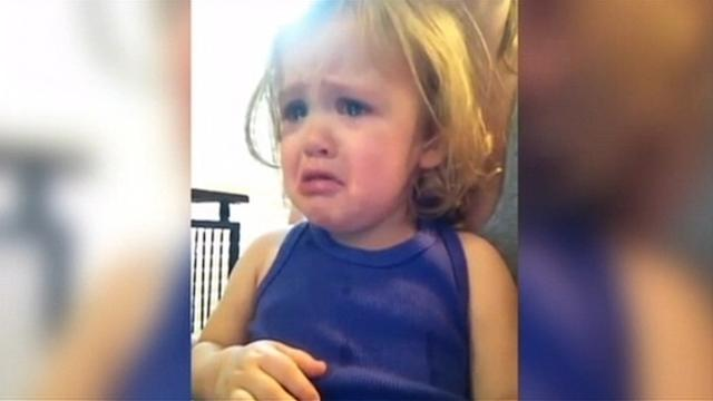 Toddler Cries While Watching Parents' Wedding Video