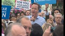 Cameron answers heckler during speech