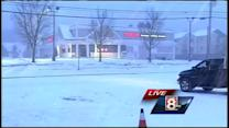 Snow coating roads in York County