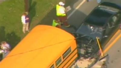 Car Collides With School Bus In Fayette County