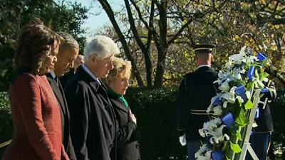 Raw: Obama Lays Wreath at JFK Eternal Flame
