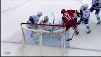 Alex Burrows saves a goal for Canucks