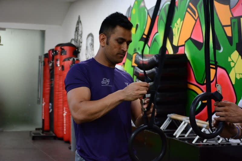 MS Dhoni works out in Sport Fit