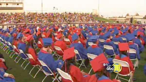 Surviving the heat at Sanger HS graduation