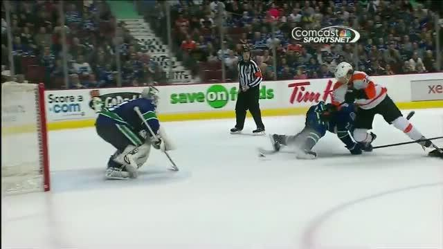 Claude Giroux scores while falling to the ice