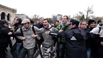 Anti-government protesters clash in front of parliament