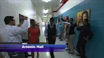 Arsenio Hall greeted by WGN Dog Pound
