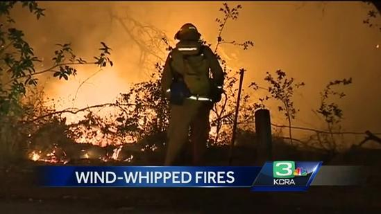Wind-whipped fire spreads in Rancho Cordova