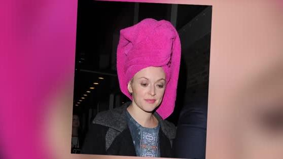 Fearne Cotton Covers Up in a Pink Towel After Celebrity Juice