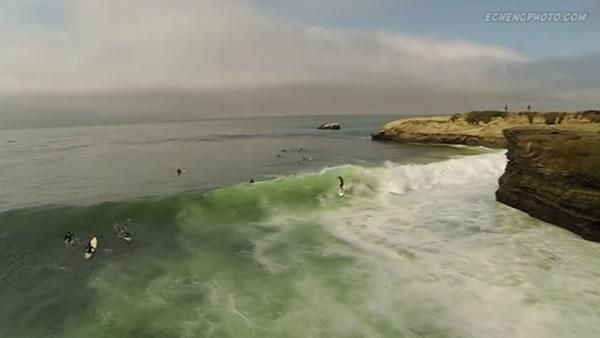 Drone captures unique video of Santa Cruz surfers