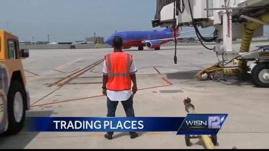 Brewers shortstop Jean Segura trades places with Southwest Airlines workers