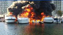 Raging Fire Engulfs Boats at Quincy Marina in Massachusetts