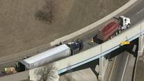 Overturned semi-truck blocks ramp