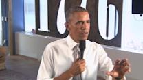 "Obama talks about ""consistent"" job growth"