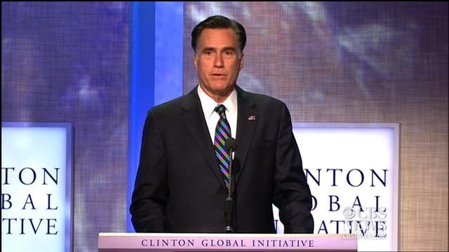 Romney talks about Middle East uprisings at CGI
